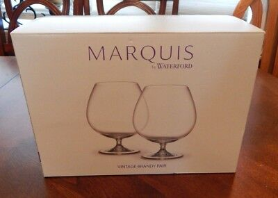 MARQUIS by WATERFORD VINTAGE BRANDY PAIR (2) GLASSES NEW IN BOX MADE IN GERMANY
