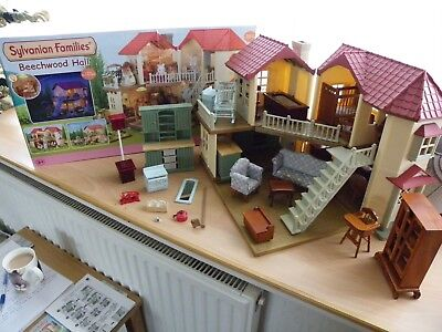 Sylvanian Families Beechwood Hall in Box with Extras - Immaculate Condition
