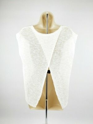 299c1fb94c20bc EILEEN FISHER White Open Cross Back Organic Linen Cotton Knit Top Size Small