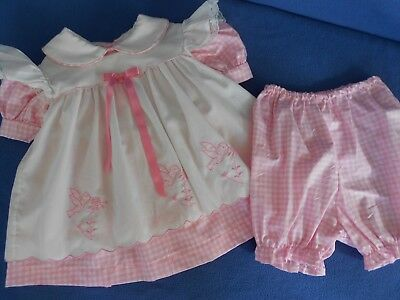 Vtg. Baby Dress 3 pc. Nannette pink/white Pinafore & pants for baby/ large doll