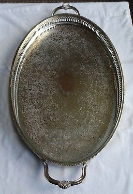 """Large Vintage silver plate EPB tray, Twin Handled, Galleried, Bun Feet 17 x 11"""""""