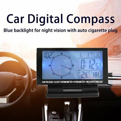 Car Digital Compass with Clock In/Out Thermometer Hygrometer Calendar Function#q