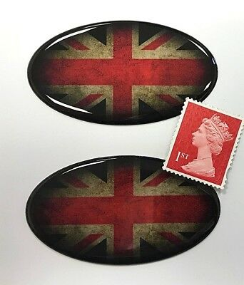 Printed /& Laminated 2 x Large 400mm Distressed UNION JACK FLAG Stickers Decals