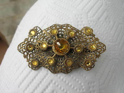 Vintage Large Brooch Citrine Multi Stones Brooch victorian OLD