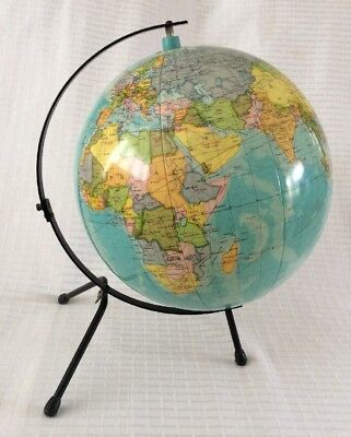 Vintage 1950's Inflated Globe On Retro Matal Stand ~ Table Top Size ~ Very Rare