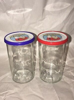 Vintage Smuckers (2) Embossed Peanuts Glass Jelly Jars 1965 With Lids