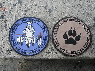 Pair of Vintage Tom Brown's Survival School Patches Tracking Nature etc lot of 2