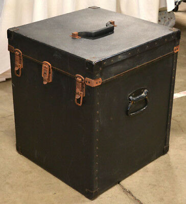 Vintage Black Storage Box Trunk Carrying Case Handles Latches 22 H X 19 W X 18 D