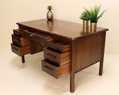 Vintage Oak Desk Twin Pedestal School Desk Deco