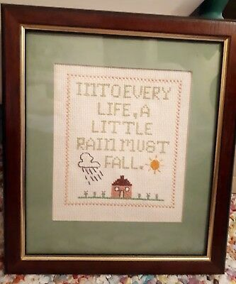 Vintage Retro handmade embroidered cross stitch  picture framed