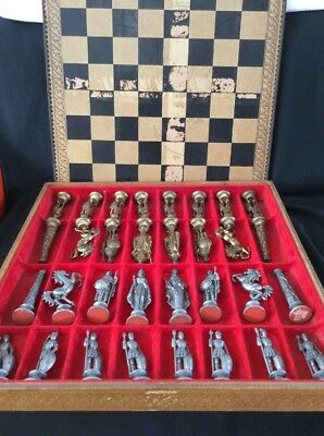 Very Large Italian Antique Chess Set ~ Pewter & Brass ~ Mod Depose. Rare Set