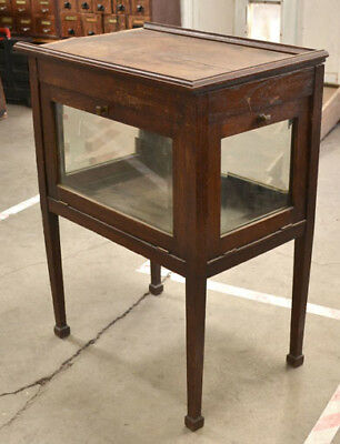 Antique Arts & Crafts Oak Display Cabinet Side Table Beveled Glass 4 Sides As-Is