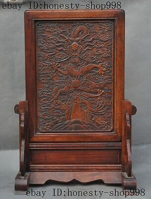 Old China Huanghuali wood Pure Hand-Carve Auspicious Dragon Beast folding screen