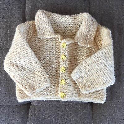 Vintage Yellow Unisex Baby Sweater Teddy Bear Buttons Handmade Doll Clothes