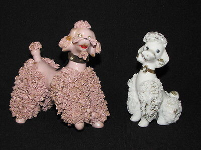 2 Vintage Spaghetti Poodles White and Mauve Pink