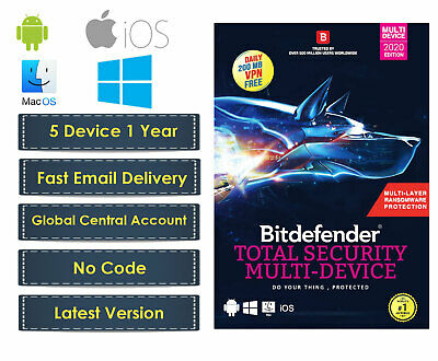Bitdefender Total Security 2019 | 5 User 1 Year | Works on Windows, Mac, Android