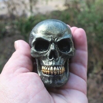 Small Decorative Metallic Bronze Skull
