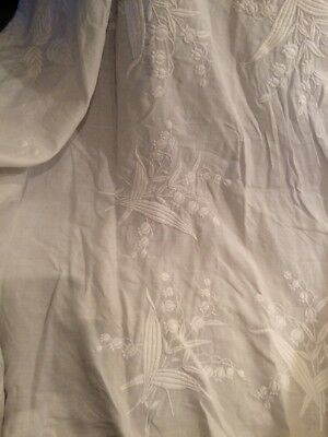 Huge Edwardian Hand Embroidered Lily Of The Valley Bedspread. 110insx98