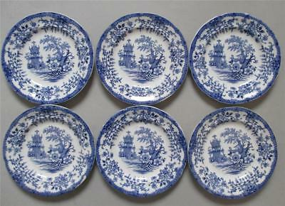 x 6 WELSH LLANELLY POTTERY SMALL COLANDINE PLATES, RARE SIZE.
