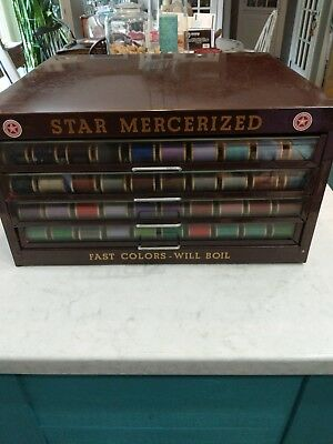 Antique Star Mercerized Sewing Thread Spool Cabinet Display