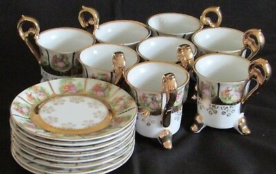 8 Arnart Demitasse Cups & Saucers Classic Male Female w/ Gold ~ Vintage Beehive