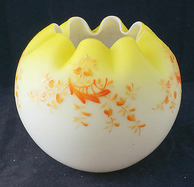 Antique Mt. Washington Opal Opaline Lemon Enameled Art Glass Rose Bowl Mint