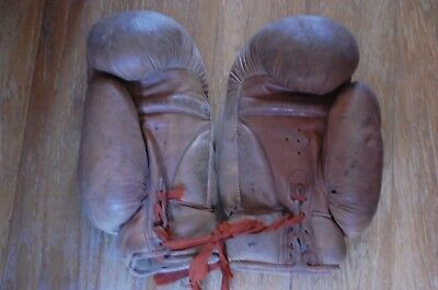 Vintage Pair of Benetfinks Leather Boxing Gloves With Laces c 1930s