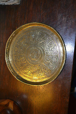 Antique Asian Brass Plate Hand Made Etched With Religious Symbols 400G