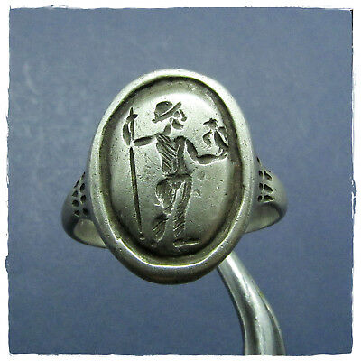 ** JUPITER holds EAGLE and SCEPTURE ** ancient SILVER Roman ring !!!