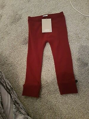 Brand New With Tags Mamas And Papas Burgundy Girls Leggings 18-24 Months