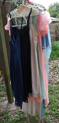 lot 50s/60s vtg lingerie--nightgowns, robes, full & half slips, pantyhose