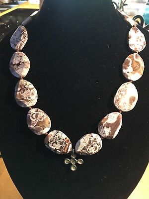 Exotic Large Stone Necklace Strung With Authentic Ancient Byzantine Cross.