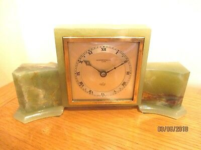 "Art Deco  ""Elliott ""  Onyx 8 Day Mantel Clock."