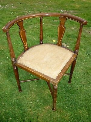 Dainty Edwardian/Victorian Corner Chair with Curved Back & inlaid parts to back