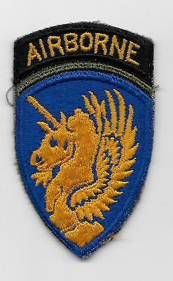 Original WW2 13th Airborne Division patch -OD BORDER BETWEEN TAB/SHIELD -US Army