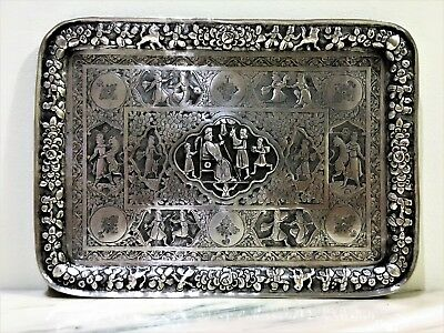 antique breathtaking persian ialsamic qajar middle eastern solid silver tray