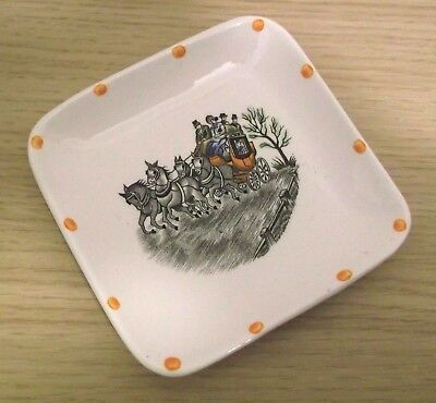 Vintage Gray's Pottery square PIN TRAY Dish STAGECOACH Hand coloured design