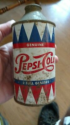 Vintage Early Cone Top Single Dot 2 Full Glasses Pepsi Cola Can *RARE*