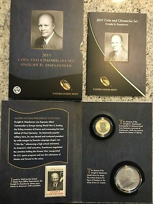 2015 EISENHOWER COIN AND CHRONICLES COIN SET >>Reverse Proof $$ and Silver IKE