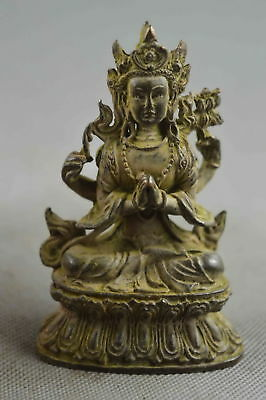 China Collectable Handwork Decor Old Copper Carve Thousand-Hand Buddha Statue