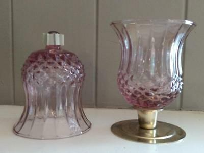 Home Interiors Homco Plum Cathedral Candle Holder with Grommet - Set of Two