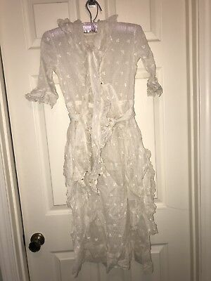 Vintage 1920's Dress Gorgeous Details White With Lace Flapper Pioneer