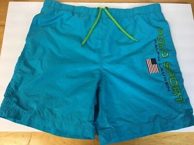 Vintage Polo Sport Ralph Lauren Swim Trunks LARGE  90s American Flag Spell Out