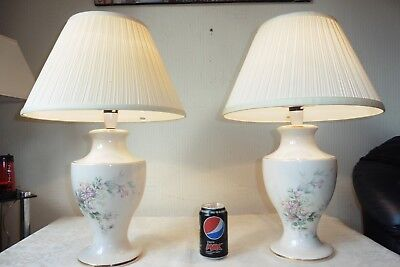 Large Pair Of Vintage Porcelain Vase Table Lamps With Vintage Shades