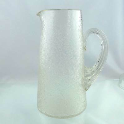 Vintage Large Ice Texture Glass Jug Pitcher With Fluted Handle