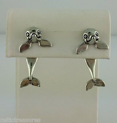 EARlusion 3D Pewter Dolphin earrings