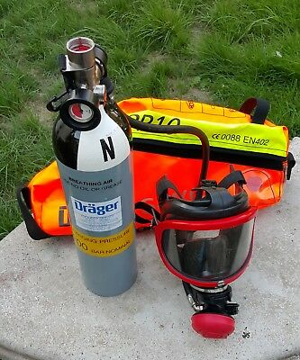DRAGER Saver Full Face Mask PP10 Emergency Escape Breathing Apparatus Soft Case