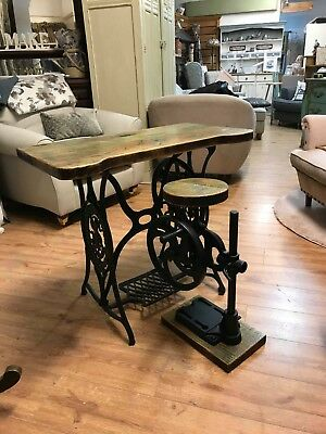 Antique  Sewing Machine Desk/Table And Vintage Hand Bench Drill Stool Set