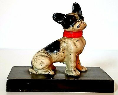 Stamped Antique Hubley Cast Iron French Bulldog Paperweight Desk