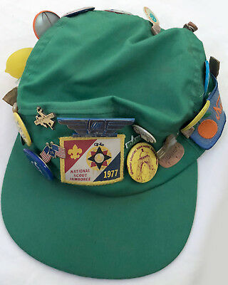 Vintage National Scout Jamboree 1977 Cap with Multiple Patches & Buttons Ca.